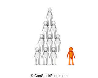 Concept of team work as pyramid