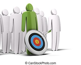 one green character in front of a crowd of white characters, there is a target with an arrow hitting the bull's eye, white background