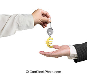 One hand giving key Euro sign keyring to another hand