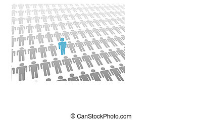 One blue person stands up in group or population of flat gray people laying down.