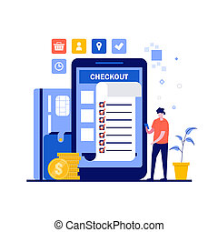 Online payment concept with character, paper bill, credit card. Financial transaction, mobile banking on smartphone. Modern flat style for landing page, mobile app, infographics, hero images