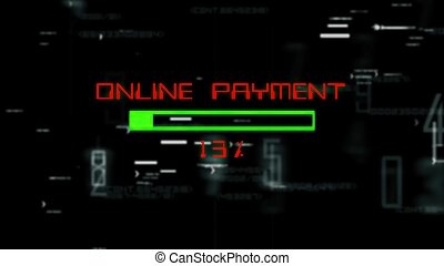 Online payment  progress bar on digital background