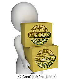 Online Sales Boxes Showing Buying And Selling On Internet