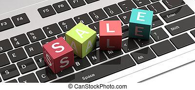 Text sale letters on colorful cubes on a computer laptop. 3d illustration