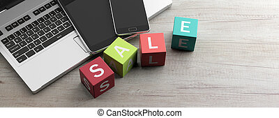 Online shopping sale. Text sale on colorful cubes, wooden table. 3d illustration