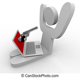 A hand comes out of laptop to point gun at its user, representing online fraud / theft