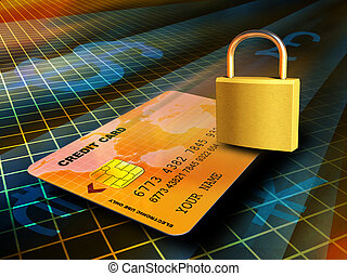 Credit card travelling through a secure connection. Digital illustration