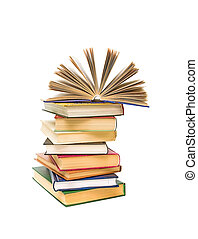 open book on a pile of books isolated on a white background