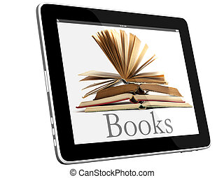 Book and iPad like teblet computer 3D model isolated on white, digital library concept, Objects with Clipping Paths