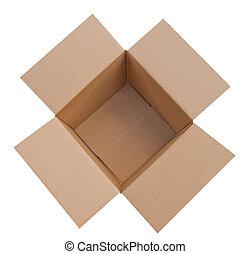 Open, empty corrugated cardboard box, isolated