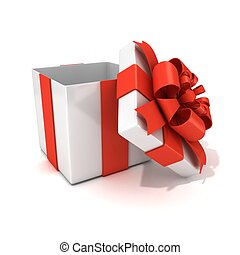 Open, empty, white gift box