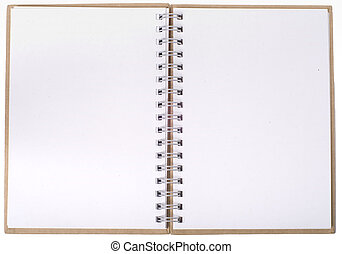 Classic notebook with two empty pages, can be used as background for messages or pictures.