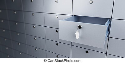 opened empty bank deposit cell