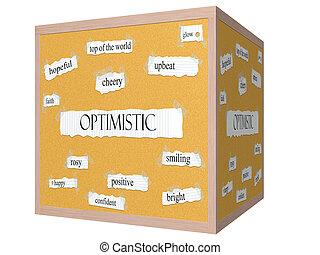 Optimistic 3D cube Corkboard Word Concept