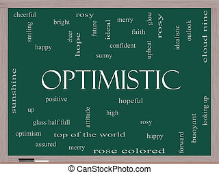 Optimistic Word Cloud Concept on a Blackboard