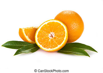 Orange fruits with leaves isolated over white background