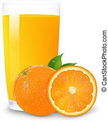 Orange Juice And Slices Of Orange, Isolated On White Background, Vector Illustration