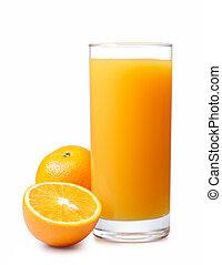 orange juice with oranges isolated on white