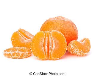 Orange mandarin or tangerine fruit isolated on white background