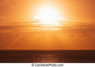 orange sun at ocean seascape