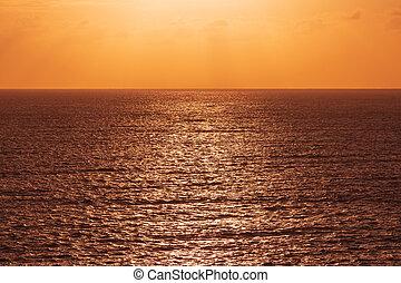 orange sun light at ocean seascape