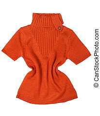 Orange women sweater detail on white background