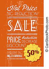 Orange Vector grunge retro sale background