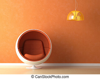 orange wall interior design