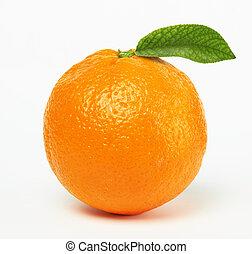 orange with leaf on white background