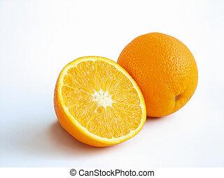 A half and a whole orange