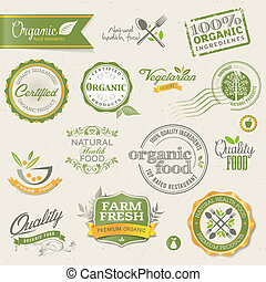 Set of vector labels and elements for organic food