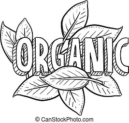 Doodle style organic food illustration in vector format. Includes title text and natural leaves.