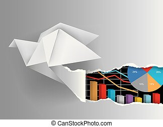 Origami bird ripped paper with charts