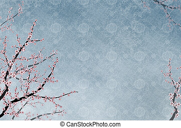Ornamental cherry tree and chinese pattern filigree with place for text or image
