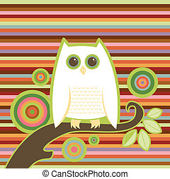Snowy white owl perched on a limb - colorful stripe and circle background