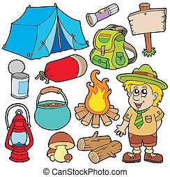 Outdoor collection on white background - vector illustration.