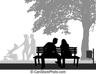 Outdoor recreation, people silhouettes. Conceptual illustration