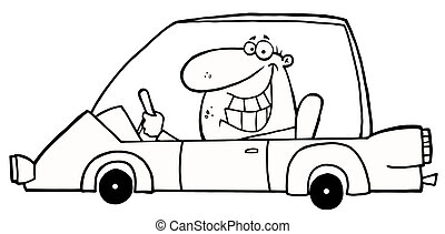 Outlined Grinning Man Driving A Car Cartoon Character
