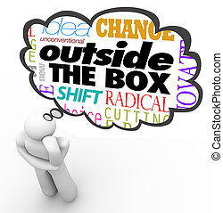 The words Outside the Box above the head of a thinking person in a thought cloud, along with the terms idea, unconventional, new, shift, change, innovative and creativity