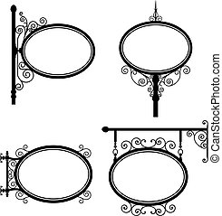 Black and white wrought iron oval signs set