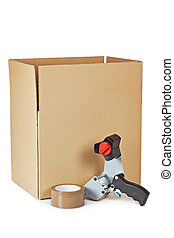 Packaging tape dispenser and shipping box isolated on white background
