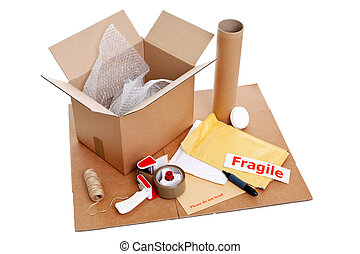 Photo of packaging items isolated on a white background.