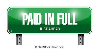 paid in full street sign illustration design