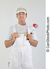 Painter standing on white background