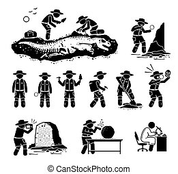 Paleontologist scientist digging dinosaur bone fossil and discover ancient artifact illustrations.