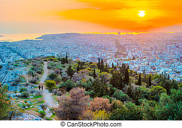 Panorama of Athens at sunset. Beautiful cityscape