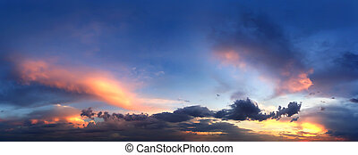 Panorama of evening sunset sky