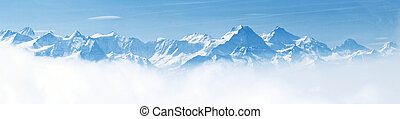 Panorama of Snow Mountain Landscape with Blue Sky from Pilatus Peaks Alps Lucern Switzerland