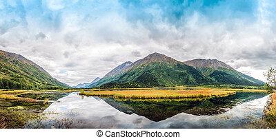 Panorama of Tern Lake on the Kenai Peninsula in Alaska with Mountain Reflections