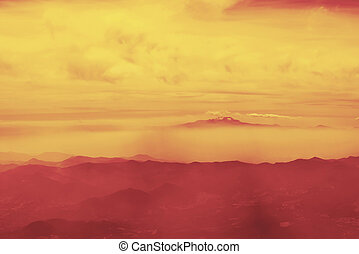 Panoramic landscape view of red mountains